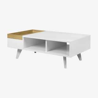 Vue de trois-quarts de la table basse TARANCE
