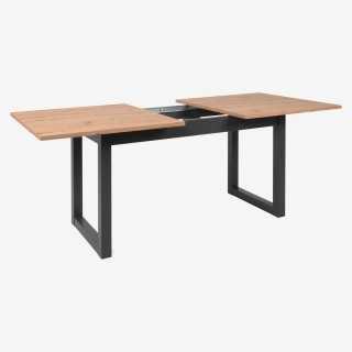 Vue de trois-quarts de la table ext DENVER dépliée sans allonge