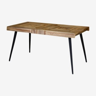 Vue de trois-quarts de la table rectangulaire WOODY