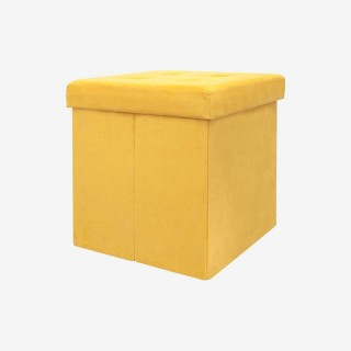 Vue de trois-quarts du coffre pouf POOF