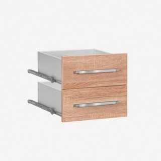 Vue de face du set de 2 tiroirs SYSTEM chêne sonoma largeur 42 cm