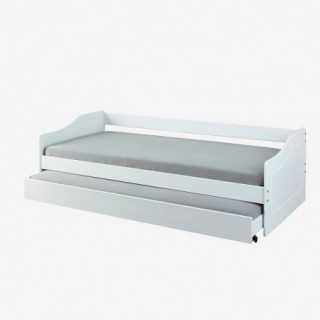 Vue de trois-quarts du lit PAUL avec tiroir ouvert
