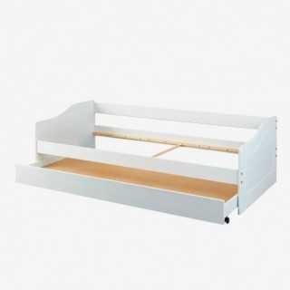 Vue de trois-quarts du lit PAUL avec tiroir ouvert sans matelas ni sommier