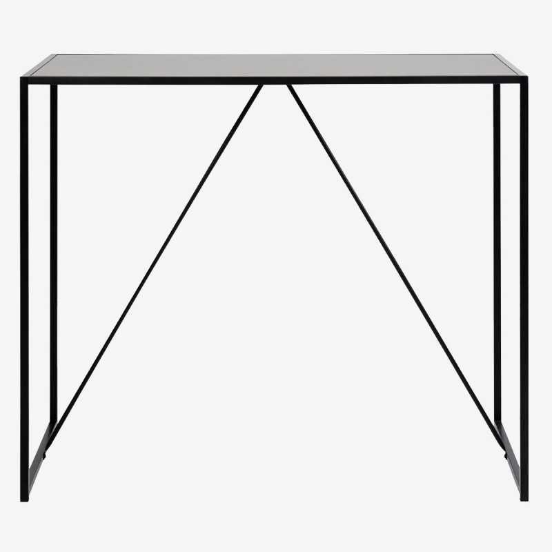 Vue de face de la table haute chêne noir ALIBA