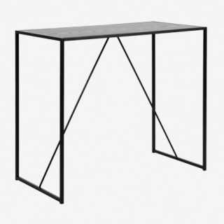 Vue de trois-quarts de la table haute chêne noir ALIBA
