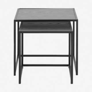 Vue de dos des tables gigognes chêne noir ALIBA