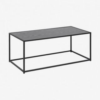 Vue de trois-quarts de la table basse chêne noir ALIBA