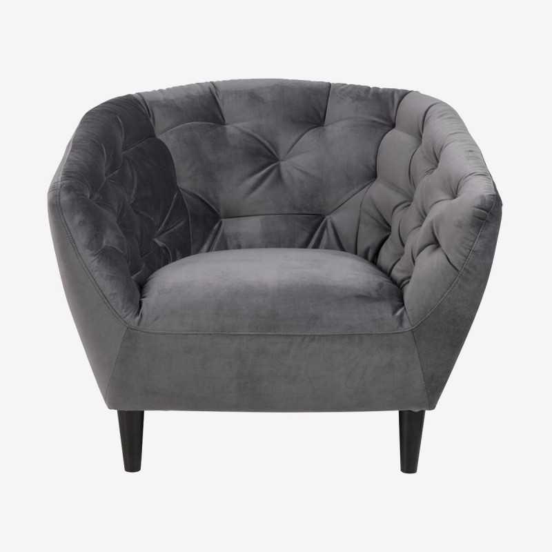 Vue de face du fauteuil ALOVA gris