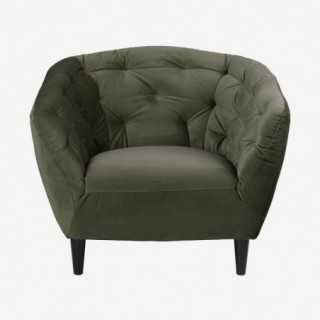 Vue de face du fauteuil ALOVA vert forêt