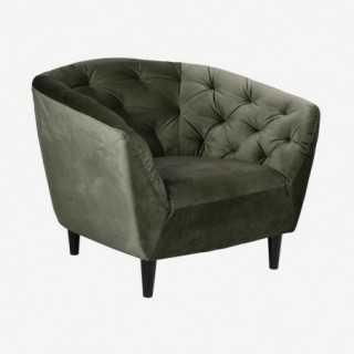 Vue de trois-quarts du fauteuil ALOVA vert forêt