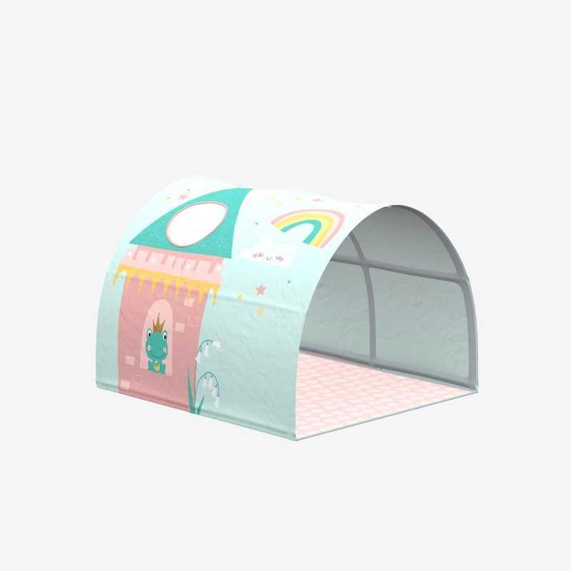 Vue de face de la cabane thème Princesse pour lit COMBI
