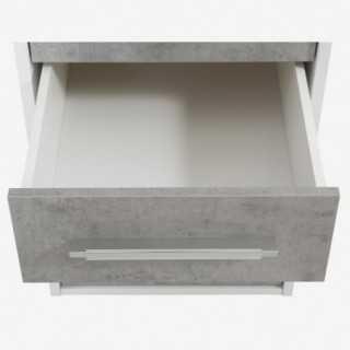 Vue du dessus sur un tiroir ouvert du caisson de rangement 4 tiroirs SYSTEM gris béton