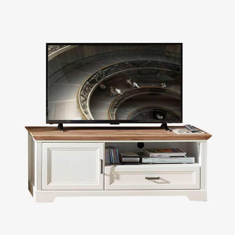Vue de face du meuble TV NORTON pin blanchi petit modèle