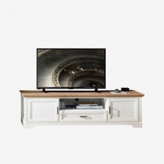 Vue de face du meuble TV NORTON pin blanchi