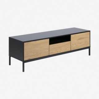 Vue de trois-quarts du meuble TV ALIBA avec tiroirs