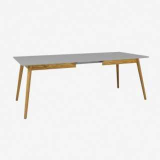 Vue de trois-quarts de la table extensible 160 cm DOT