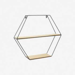 Vue de trois-quarts de l'étagère héxagonale FILAIRE