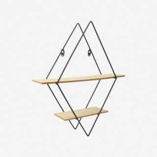 Vue de trois-quarts de l'étagère triangulaire FILAIRE