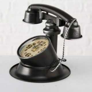 Vue de trois-quarts de l'horloge TELEFON