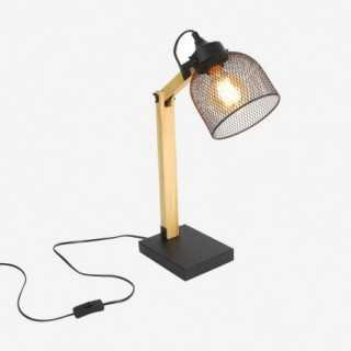 Vue de trois-quarts de la lampe de bureau GRILLE allumée
