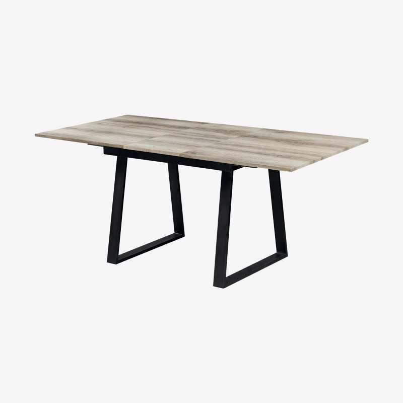 Vue de trois-quarts de la table avec allonges ROSALIE