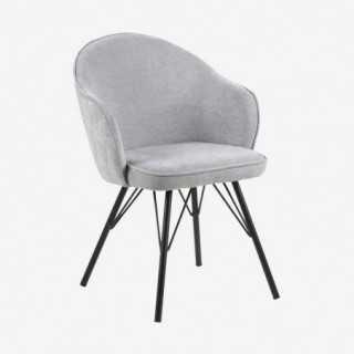 Vue de trois-quarts de la chaise AZIE avec pied métallique noir