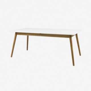 Vue de trois-quarts de la table extensible 180 cm DOT