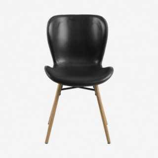 Vue de face de la chaise ATILA noir