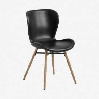 Vue de trois-quarts de la chaise ATILA noir