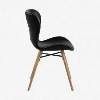 Vue de profil de la chaise ATILA noir