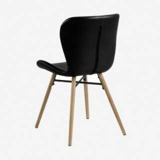 Vue de trois-quarts et de dos de la chaise ATILA noir