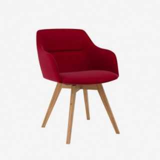 Vue de trois-quarts de la chaise ALLY avec pied BESS