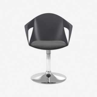 Vue de face de la chaise ALLY avec pied TRUMPET