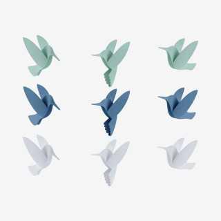 Vue de face du set complet d'oiseaux BIRDS