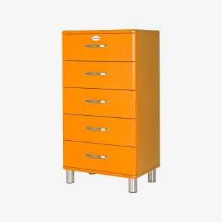Vue de trois-quarts du chiffonnier MALIBU orange