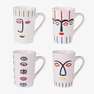Vue de face des 4 mugs VISO