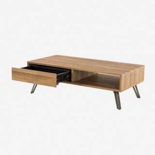 Vue avec le tiroir ouvert de la table basse ROMEO