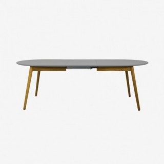 Vue de face de la table extensible ovale DOT avec allonge