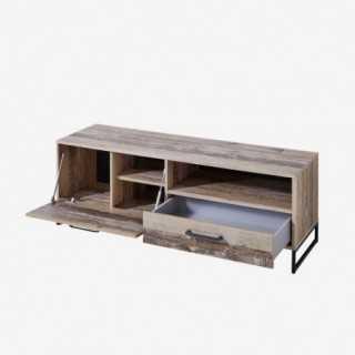 Vue de trois-quarts du meuble TV NOLD avec tiroir ouvert