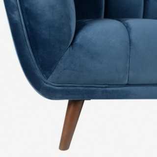 Vue détaillée du pied et du tissu du fauteuil MERYL