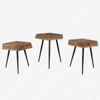 Vue des trois tables basses séparées WOODY
