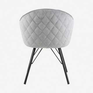 Vue de dos de la chaise AZIE avec pied métallique noir