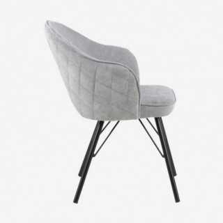 Vue de profil de la chaise AZIE avec pied métallique noir