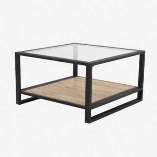 Vue de trois-quarts de la table basse carrée KENTON