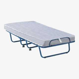 Vue de trois-quarts du lit pliant RUNDA