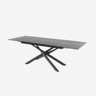 Vue de trois-quarts de la table extensible ATYA avec allonge