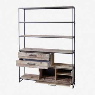 Vue de trois-quarts de l'étagère NOLD avec tiroirs et portes ouvertes