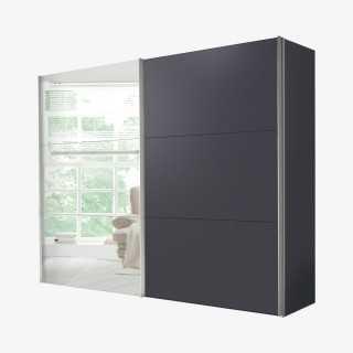 Vue de face de l'armoire COSMO coulissante miroir graphite