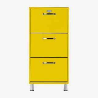 Vue de face du meuble à chaussures MALIBU jaune