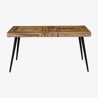 Vue de face de la table rectangulaire WOODY
